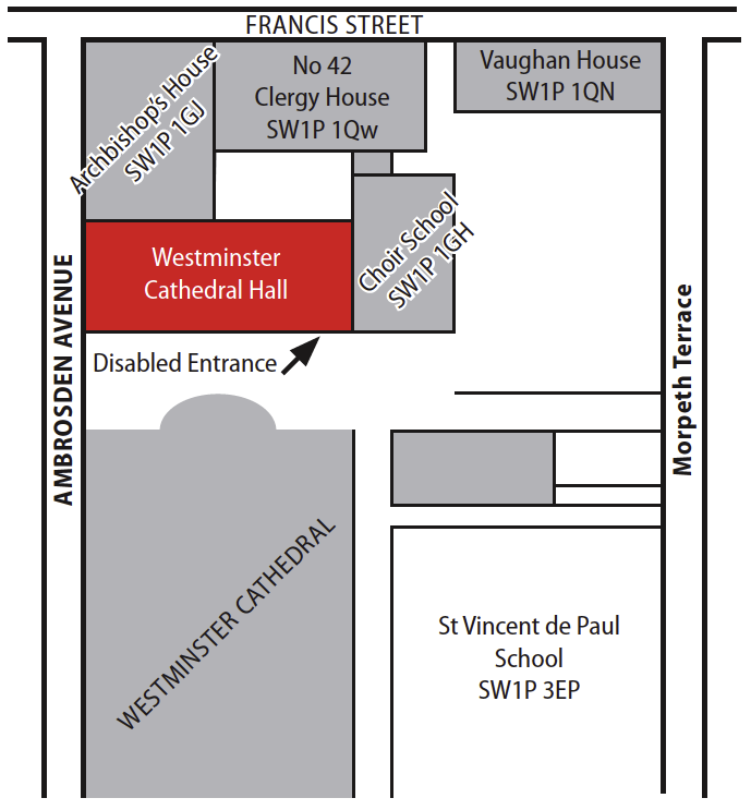 Westminster Cathedral Hall Map