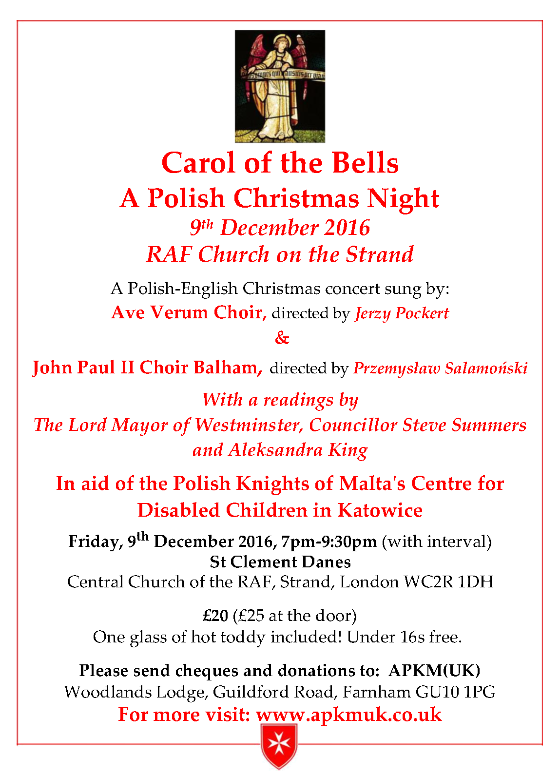 Carol of the Bells Invitation 9 December 2016